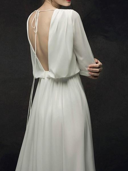 A-Line Wedding Dresses Jewel Neck Sweep \ Brush Train Chiffon Satin Half Sleeve Simple Elegant_5