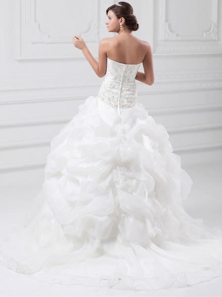 Ball Gown Sweetheart Neckline Chapel Train Organza Satin Strapless Wedding Dresses_4