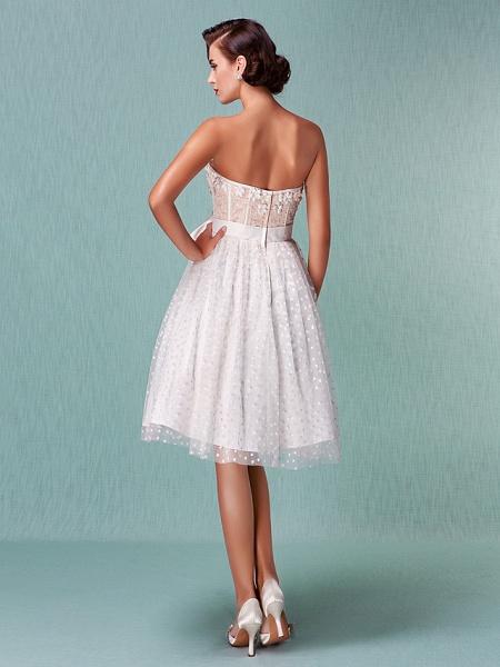 Princess A-Line Wedding Dresses Sweetheart Neckline Knee Length Tulle Strapless Little White Dress_5