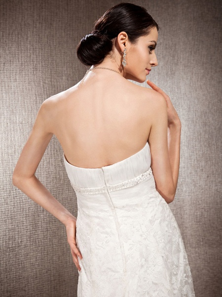 Princess A-Line Wedding Dresses Sweetheart Neckline Court Train Lace Sleeveless Floral Lace_6