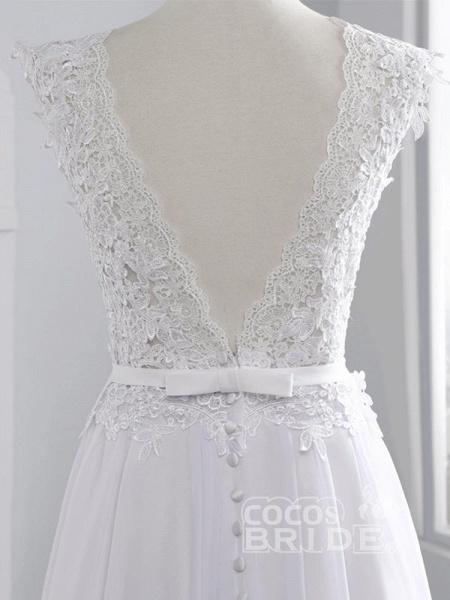 Cheap Jewel Backless Lace A-Line Wedding Dresses_8
