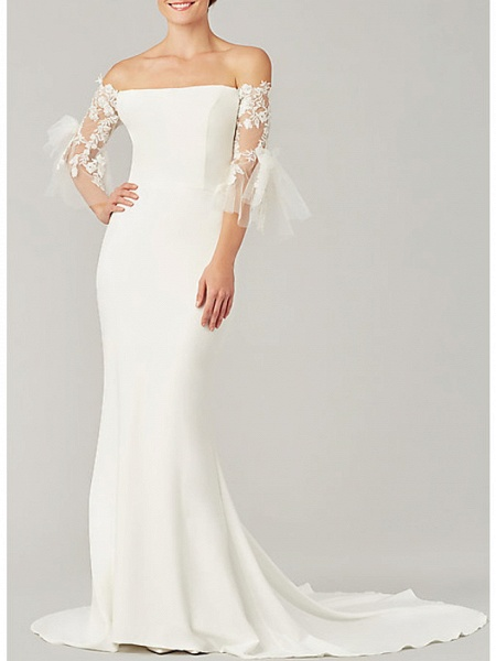 Mermaid \ Trumpet Wedding Dresses Off Shoulder Sweep \ Brush Train Tulle Stretch Satin 3\4 Length Sleeve Simple Illusion Sleeve_1