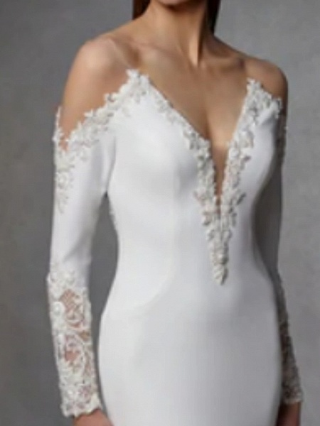 Mermaid \ Trumpet Wedding Dresses V Neck Court Train Stretch Satin Lace Over Satin Long Sleeve_3