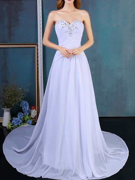 A-Line Wedding Dresses Strapless Sweep \ Brush Train Tulle Strapless Formal Plus Size_3