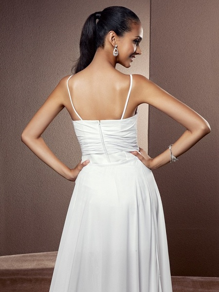 Sheath \ Column Wedding Dresses V Neck Asymmetrical Chiffon Sleeveless_6