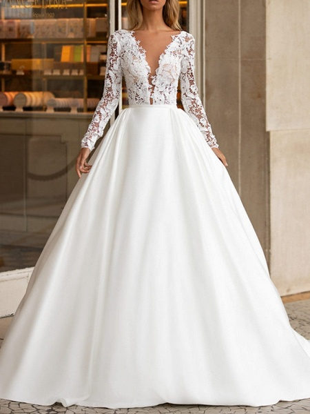 A-Line Wedding Dresses V Neck Sweep \ Brush Train Lace Satin Long Sleeve Plus Size_1