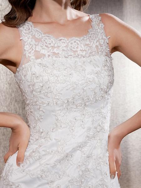 Mermaid \ Trumpet Wedding Dresses Scoop Neck Sweep \ Brush Train Lace Tulle Sleeveless_3