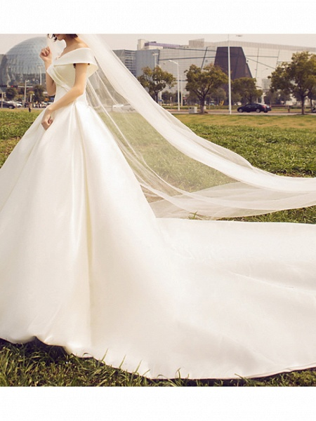 A-Line V Neck Court Train Chiffon Regular Straps Formal Plus Size Wedding Dresses_3