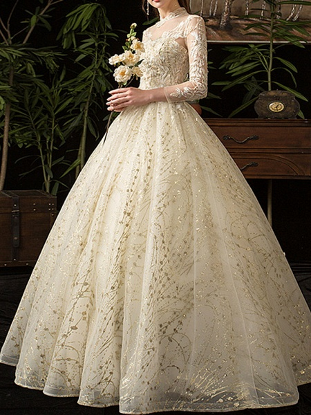 A-Line Wedding Dresses Jewel Neck Floor Length Lace Tulle Long Sleeve Formal Plus Size Illusion Sleeve_2