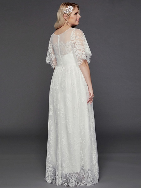 A-Line Wedding Dresses Illusion Neck Jewel Neck Floor Length Lace Tulle Half Sleeve Formal Boho Little White Dress See-Through_7