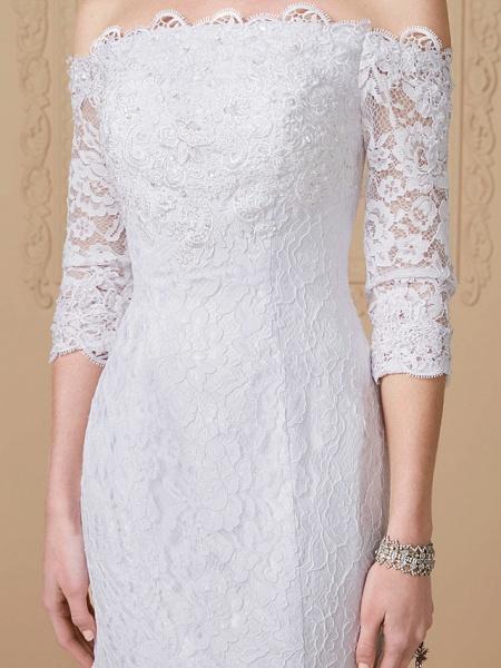 Mermaid \ Trumpet Wedding Dresses Off Shoulder Court Train Lace Sequined 3\4 Length Sleeve Romantic Plus Size Illusion Sleeve_6