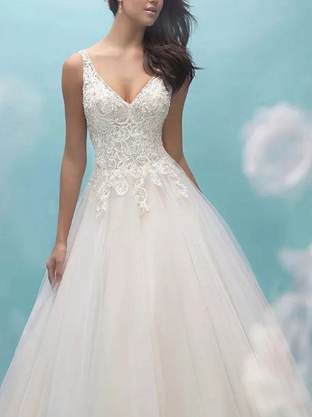 Ball Gown V Neck Sweep \ Brush Train Lace Tulle Sleeveless Formal Casual Plus Size Wedding Dresses_2