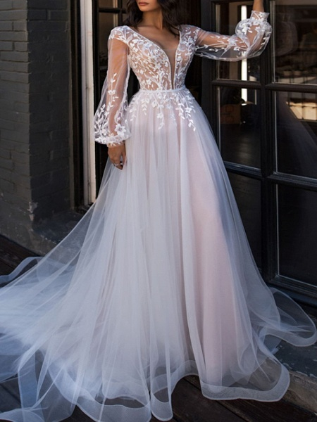 A-Line V Neck Sweep \ Brush Train Lace Tulle Long Sleeve Beach Sexy See-Through Wedding Dresses_1
