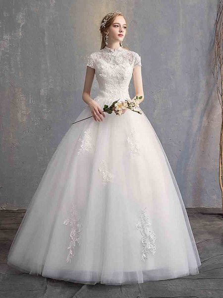 Ball Gown Wedding Dresses High Neck Floor Length Lace Tulle Lace Over Satin Short Sleeve Vintage Illusion Sleeve_4