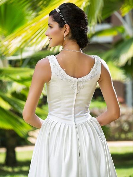 Princess A-Line Wedding Dresses Scoop Neck Asymmetrical Satin Sleeveless_7
