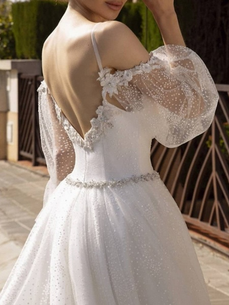 A-Line Wedding Dresses Spaghetti Strap Sweep \ Brush Train Lace Tulle Sequined Long Sleeve Formal Backless_2