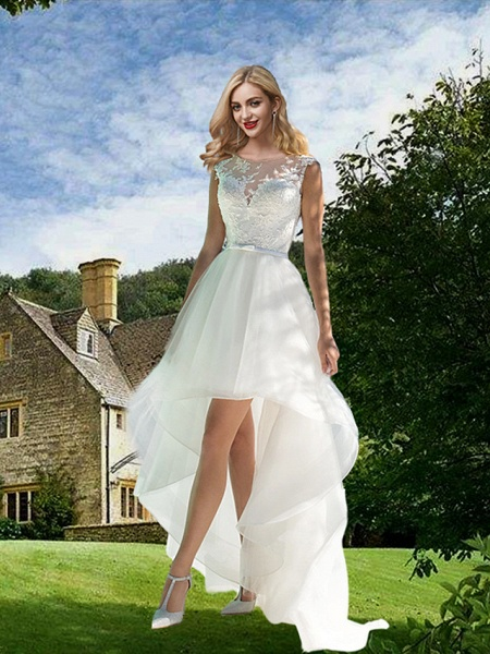 A-Line Wedding Dresses Jewel Neck Sweep \ Brush Train Asymmetrical Lace Tulle Sleeveless Sexy See-Through_1