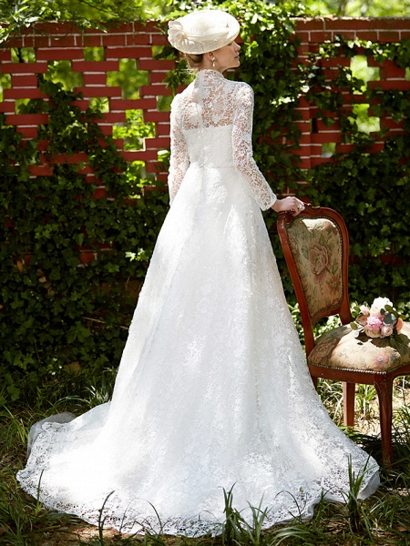 A-Line Wedding Dresses Illusion Neck Court Train All Over Lace Long Sleeve Floral Lace_2