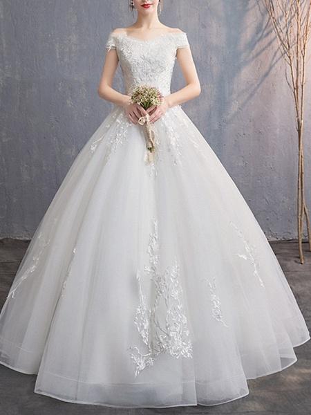 A-Line Wedding Dresses Off Shoulder Floor Length Tulle Cap Sleeve_1