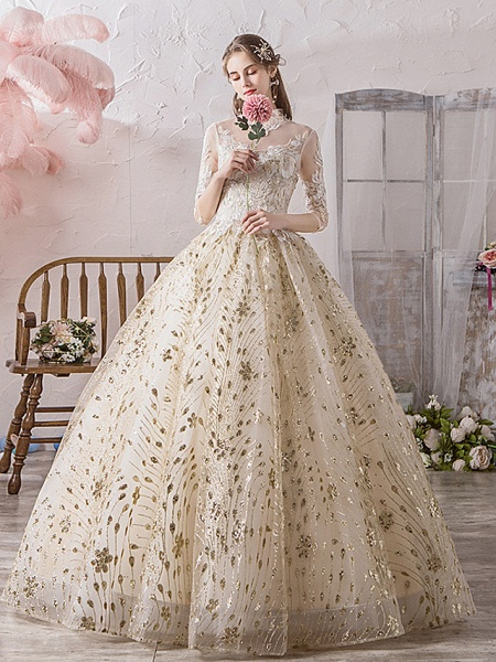 Ball Gown Wedding Dresses Off Shoulder Floor Length Lace Tulle Polyester 3\4 Length Sleeve Country Wedding Dress in Color_1