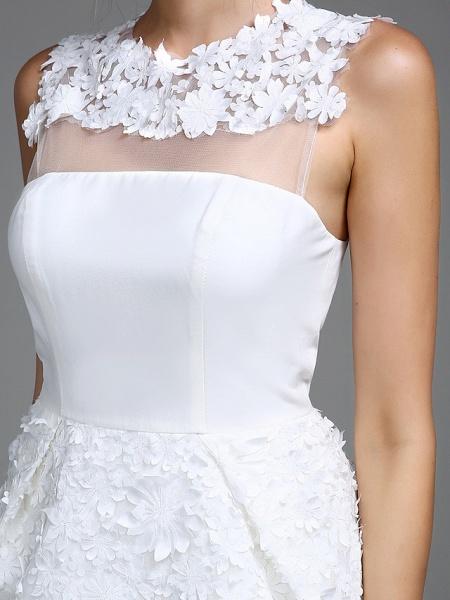 Sheath \ Column Wedding Dresses Jewel Neck Short \ Mini Chiffon Regular Straps Romantic Casual See-Through Plus Size Backless_7