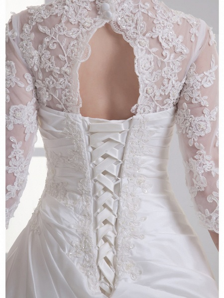 A-Line V Neck Chapel Train Lace Satin Taffeta 3\4 Length Sleeve Illusion Sleeve Wedding Dresses_5