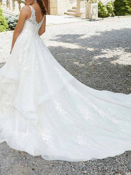 A-Line V Neck Watteau Train Lace Tulle Sleeveless Formal Sexy Plus Size Wedding Dresses_3