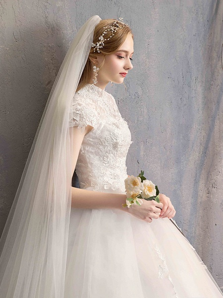 Ball Gown Wedding Dresses High Neck Floor Length Lace Tulle Lace Over Satin Short Sleeve Vintage Illusion Sleeve_8