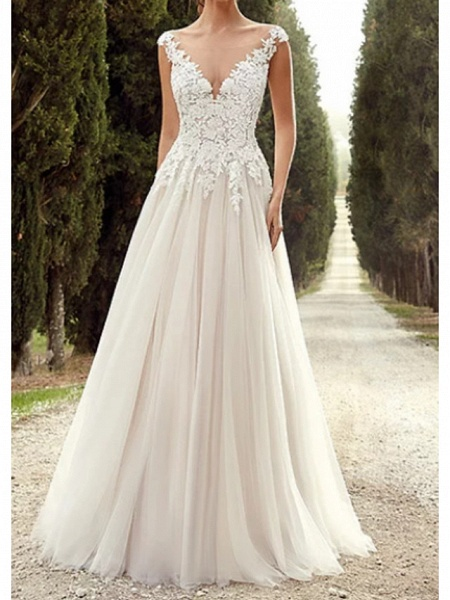 A-Line Wedding Dresses V Neck Court Train Organza Stretch Satin Regular Straps_1