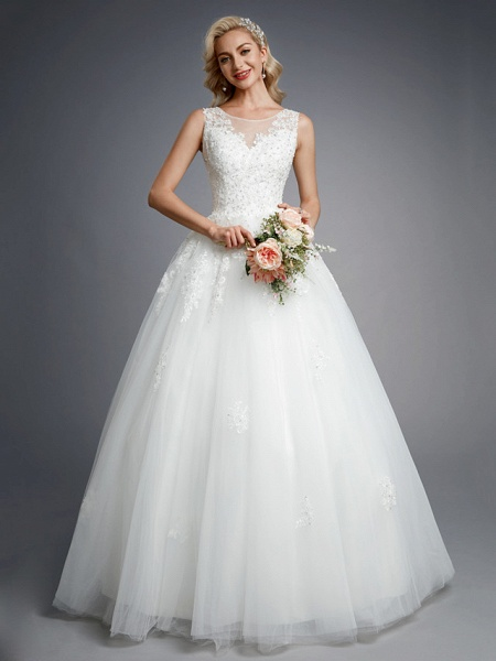 Ball Gown Wedding Dresses Jewel Neck Floor Length Lace Tulle Regular Straps Formal Casual Illusion Detail Backless_1