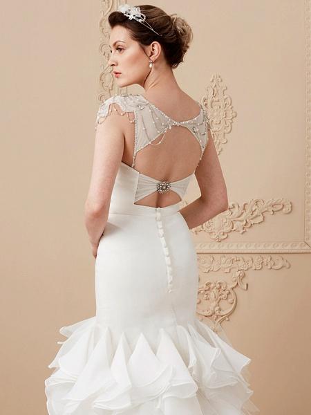 Mermaid \ Trumpet Wedding Dresses Sweetheart Neckline Sweep \ Brush Train Organza Tulle Cap Sleeve Formal Separate Bodies_17
