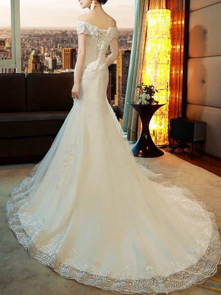 Mermaid \ Trumpet Wedding Dresses Off Shoulder Sweep \ Brush Train Tulle Sequined Cap Sleeve Romantic Sexy Illusion Detail_4