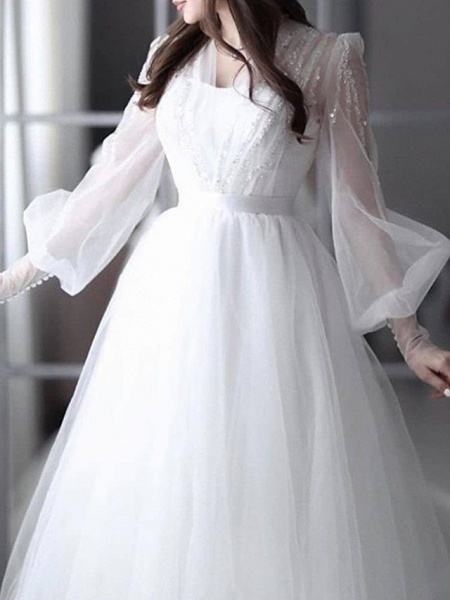 A-Line Wedding Dresses V Neck Sweep \ Brush Train Lace Tulle 3\4 Length Sleeve Sexy See-Through Backless_3