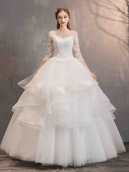 Ball Gown Wedding Dresses Jewel Neck Floor Length Lace Tulle Half Sleeve Glamorous See-Through Backless Illusion Sleeve_1