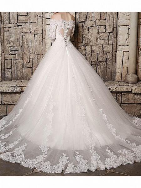 Ball Gown Off Shoulder Court Train Polyester 3\4 Length Sleeve Country Plus Size Wedding Dresses_2