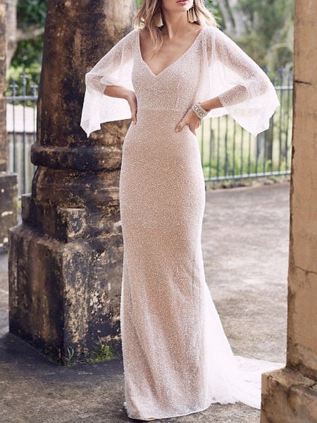 A-Line Wedding Dresses V Neck Court Train Tulle Sleeveless Vintage Sexy Wedding Dress in Color See-Through_4