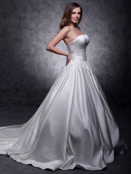 Princess Wedding Dresses Strapless Chapel Train Satin Sleeveless_4