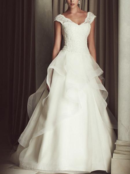 A-Line Wedding Dresses V Neck Sweep Train Lace Cap Sleeve Beach_1