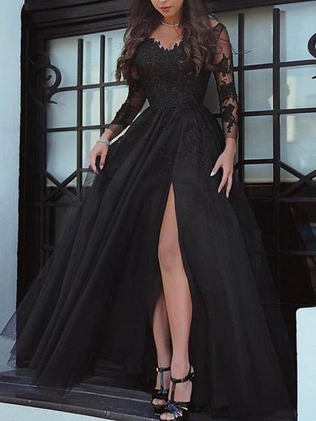 A-Line Wedding Dresses Bateau Neck Sweep \ Brush Train Lace Long Sleeve Formal Black Red_1