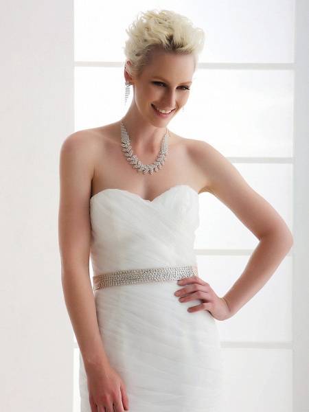 Mermaid \ Trumpet Wedding Dresses Sweetheart Neckline Court Train Organza Satin Sleeveless_3