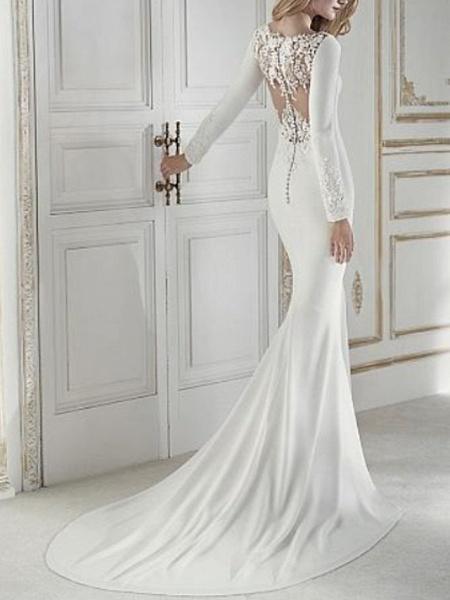 Sheath \ Column Wedding Dresses Jewel Neck Court Train Chiffon Long Sleeve_2