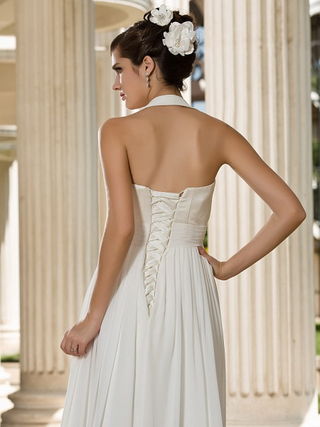 A-Line Wedding Dresses Halter Neck Floor Length Chiffon Sleeveless See-Through_6