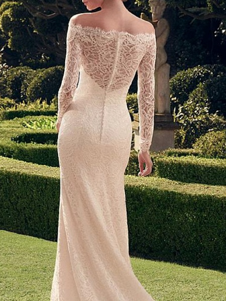 Mermaid \ Trumpet Wedding Dresses Off Shoulder Sweep \ Brush Train Lace Long Sleeve Romantic Sexy See-Through_2