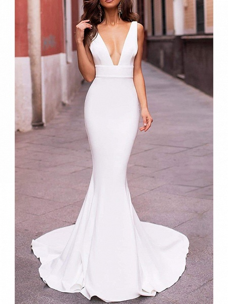 Mermaid \ Trumpet Wedding Dresses Plunging Neck Sweep \ Brush Train Stretch Satin Sleeveless Sexy Plus Size_2