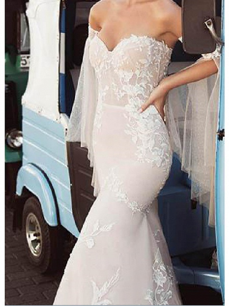 Mermaid \ Trumpet Wedding Dresses Strapless Sweep \ Brush Train Lace Tulle Long Sleeve Strapless Country Plus Size_3