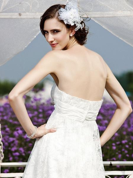 Princess A-Line Wedding Dresses Strapless Tea Length Lace Sleeveless Little White Dress_7