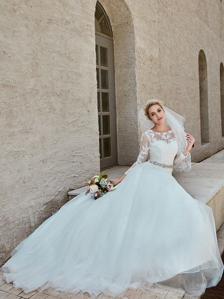 Ball Gown Wedding Dresses Bateau Neck Chapel Train Lace Tulle Long Sleeve Beautiful Back Illusion Sleeve_5