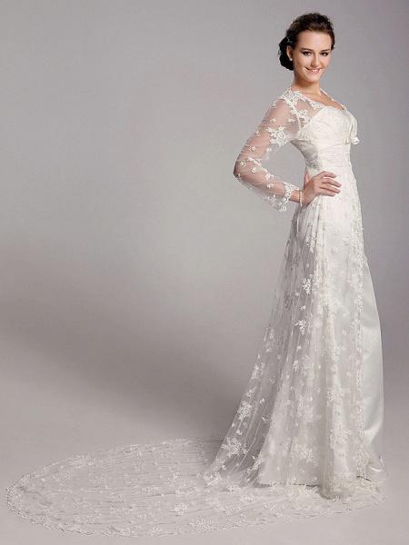 Sheath \ Column Wedding Dresses Square Neck Sweep \ Brush Train Lace Satin Long Sleeve_4
