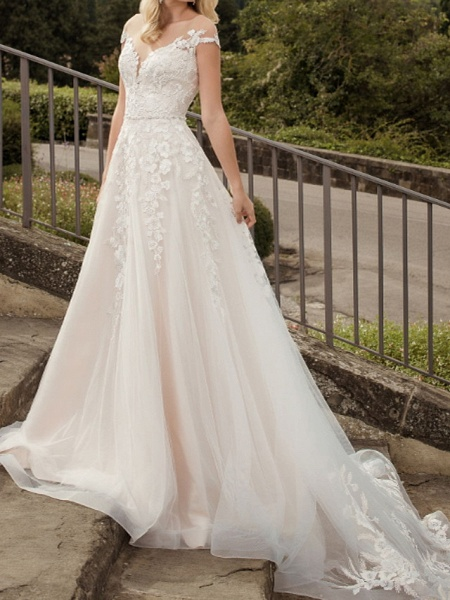 A-Line Wedding Dresses V Neck Court Train Lace Tulle Short Sleeve Country Plus Size_1