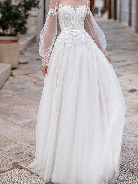 A-Line Wedding Dresses Jewel Neck Floor Length Lace Tulle Long Sleeve Country Plus Size Illusion Sleeve_1